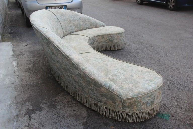 Mid-Century Living Room Sets  Italian Design Curved Sofa Boomerang  For Sale 11