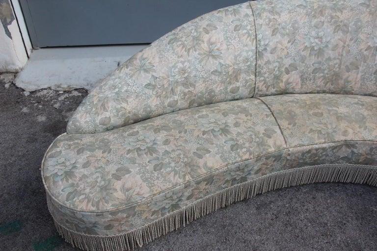 Wood Mid-Century Living Room Sets  Italian Design Curved Sofa Boomerang  For Sale