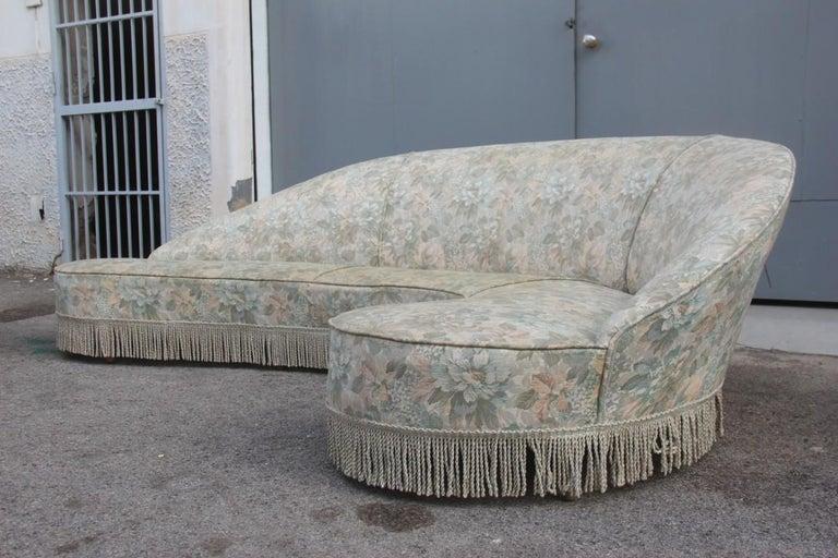 Mid-Century Living Room Sets  Italian Design Curved Sofa Boomerang  For Sale 2