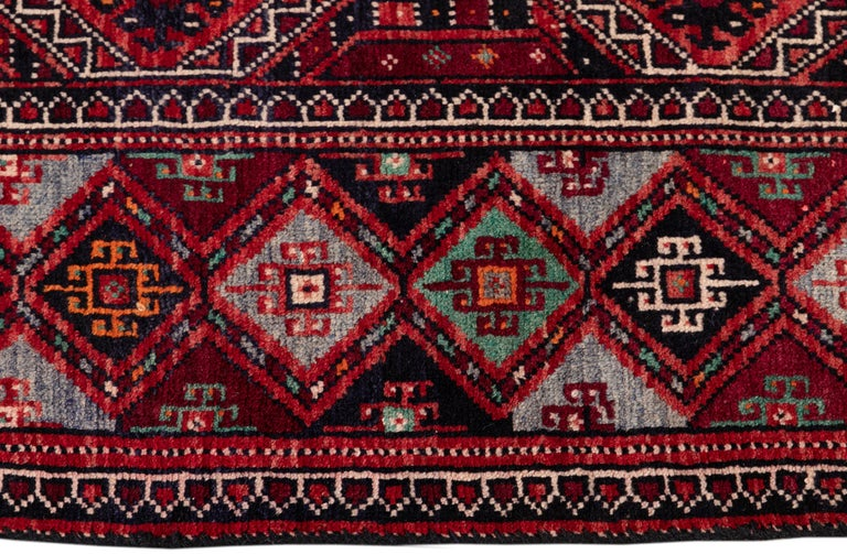 Wool Mid Century Long Afshar Runner For Sale