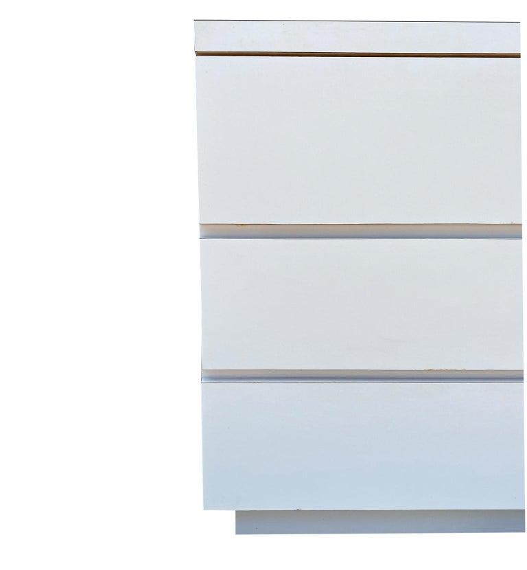 Midcentury Long White Laminate Plywood Custom 12-Drawer Dresser Credenza For Sale 4