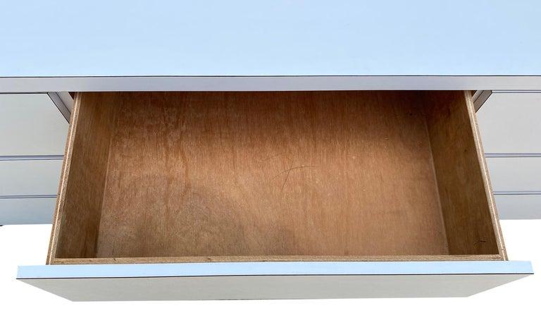 Midcentury Long White Laminate Plywood Custom 12-Drawer Dresser Credenza For Sale 5