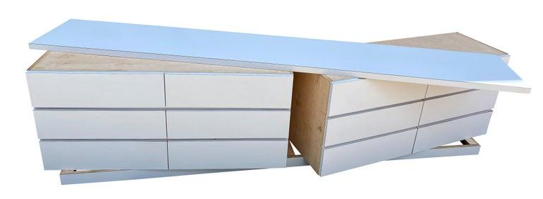 Midcentury Long White Laminate Plywood Custom 12-Drawer Dresser Credenza For Sale 8