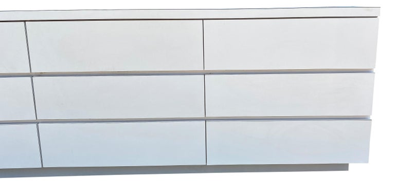 Mid-Century Modern Midcentury Long White Laminate Plywood Custom 12-Drawer Dresser Credenza For Sale