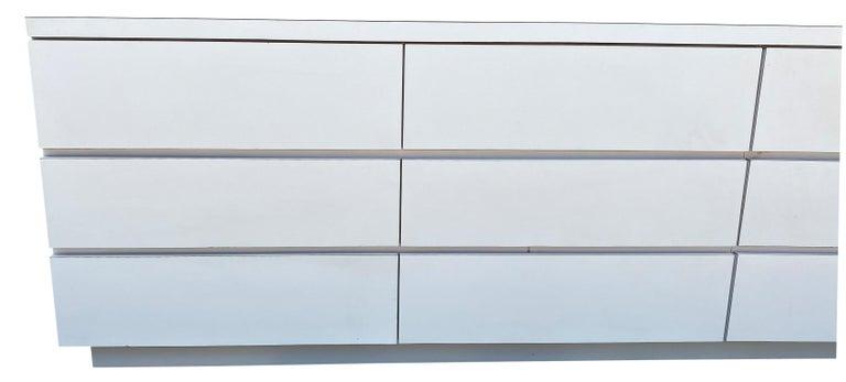 American Midcentury Long White Laminate Plywood Custom 12-Drawer Dresser Credenza For Sale
