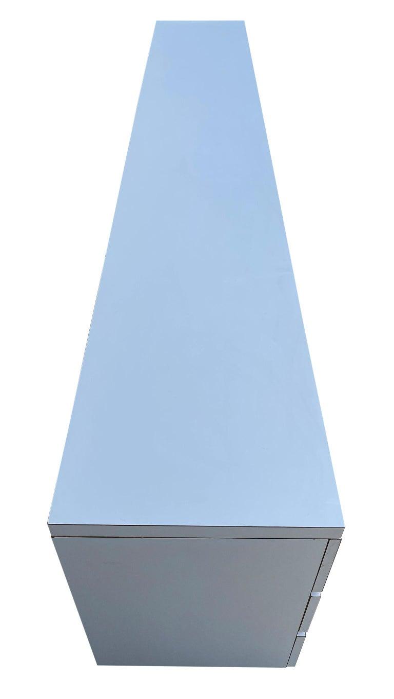 Midcentury Long White Laminate Plywood Custom 12-Drawer Dresser Credenza For Sale 1