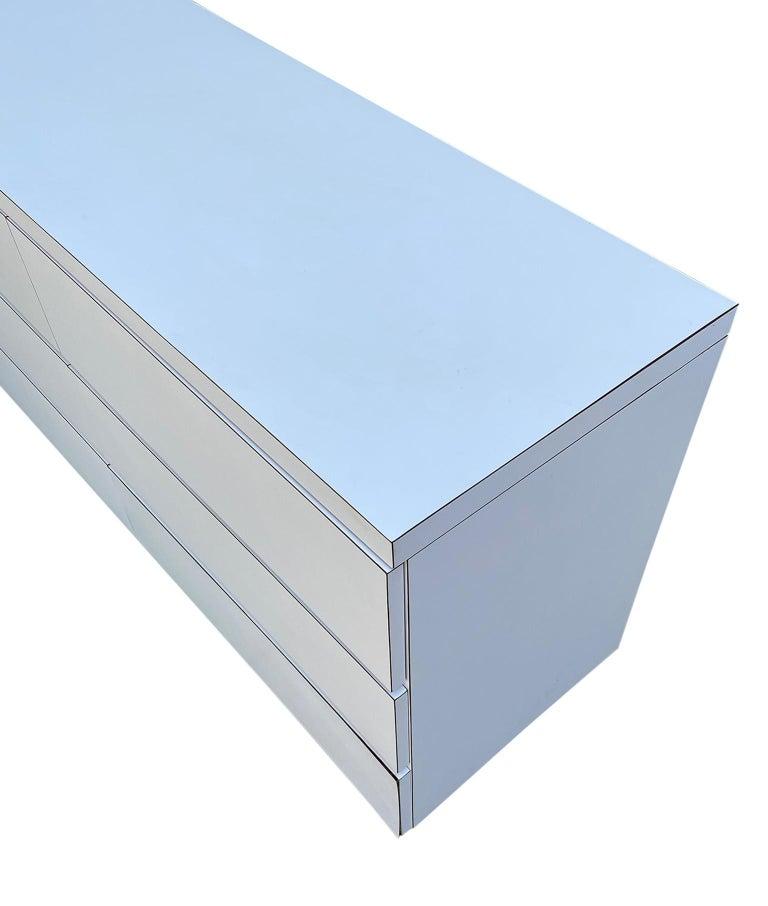 Midcentury Long White Laminate Plywood Custom 12-Drawer Dresser Credenza For Sale 2
