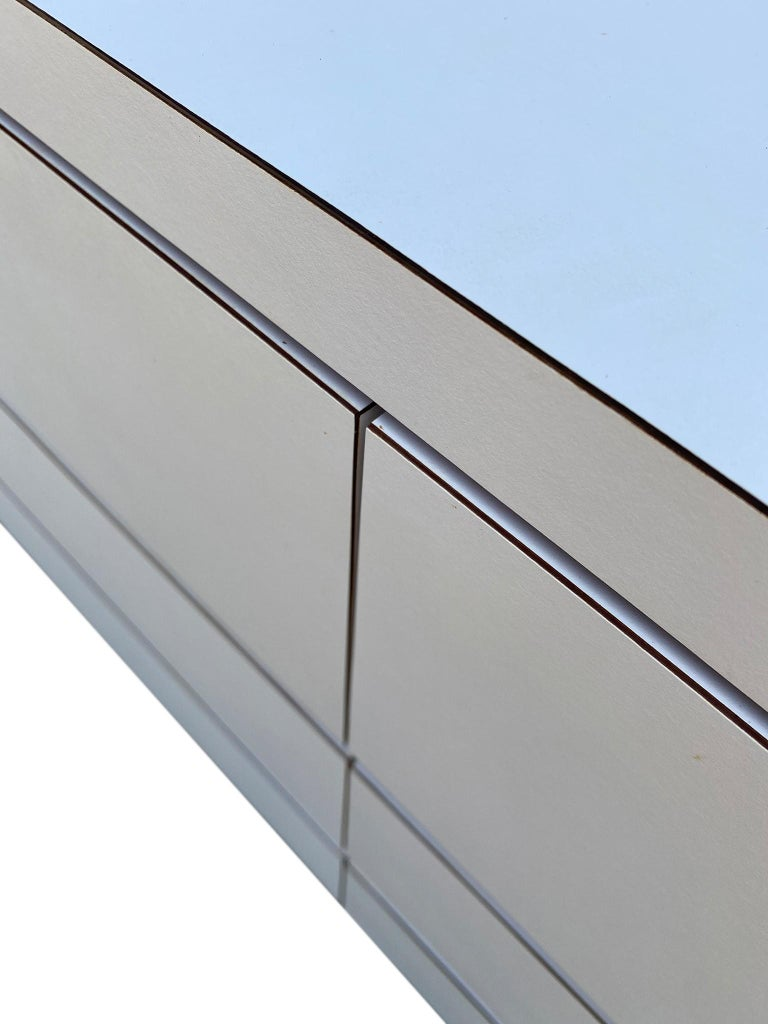 Midcentury Long White Laminate Plywood Custom 12-Drawer Dresser Credenza For Sale 3