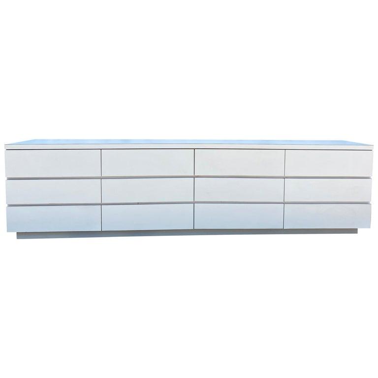Midcentury Long White Laminate Plywood Custom 12-Drawer Dresser Credenza For Sale