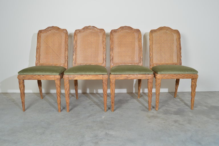 American Midcentury Louis XVI Style Faux Bois Rush Cane Branch Form Back Dining Chairs For Sale