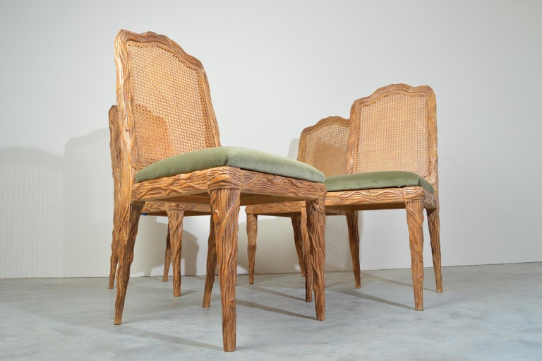 Carved Midcentury Louis XVI Style Faux Bois Rush Cane Branch Form Back Dining Chairs For Sale