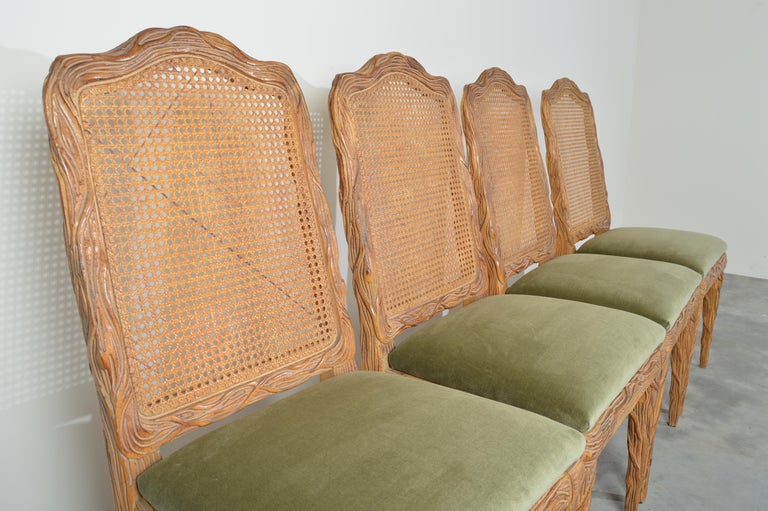 Midcentury Louis XVI Style Faux Bois Rush Cane Branch Form Back Dining Chairs In Good Condition For Sale In Southampton, NJ