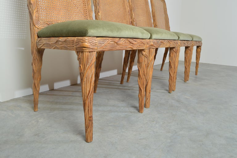 Mid-20th Century Midcentury Louis XVI Style Faux Bois Rush Cane Branch Form Back Dining Chairs For Sale
