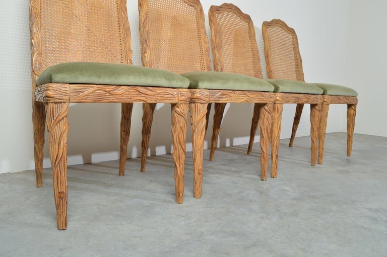 Mahogany Midcentury Louis XVI Style Faux Bois Rush Cane Branch Form Back Dining Chairs For Sale
