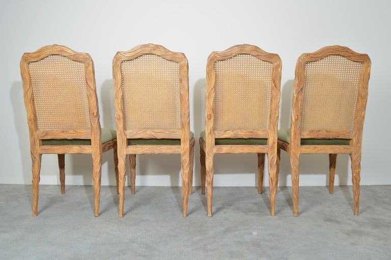 Midcentury Louis XVI Style Faux Bois Rush Cane Branch Form Back Dining Chairs For Sale 1