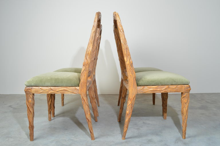 Midcentury Louis XVI Style Faux Bois Rush Cane Branch Form Back Dining Chairs For Sale 2