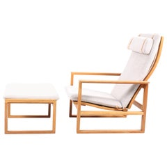 Midcentury Lounge Chair and Ottoman by Børge Mogensen, Danish, 1960s