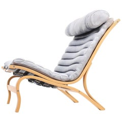 Mid Century Lounge Chair In Blue Leather by Arne Norell