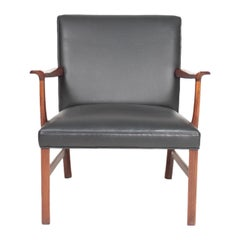 Midcentury Lounge Chair in Rosewood and Leather by Wanscher, Danish Design 1950s
