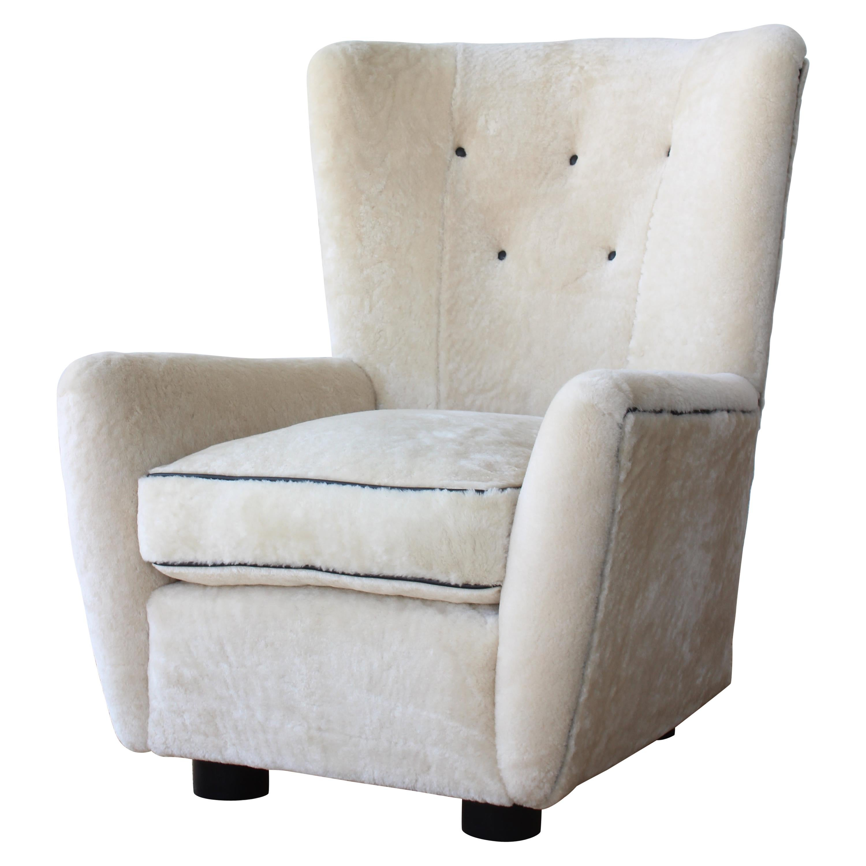 Mid Century Lounge Chair in Sheepskin, France, 1950s