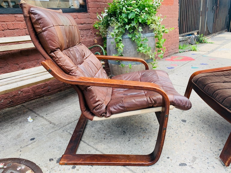 European Midcentury Lounge Chair with Ottoman For Sale