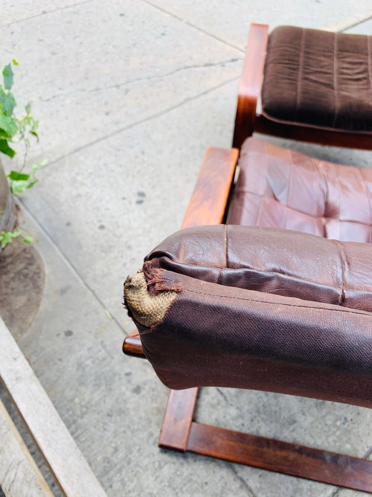 Midcentury Lounge Chair with Ottoman In Good Condition For Sale In Los Angeles, CA