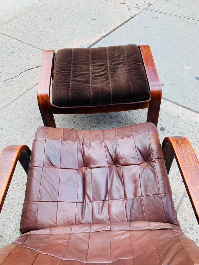 20th Century Midcentury Lounge Chair with Ottoman For Sale