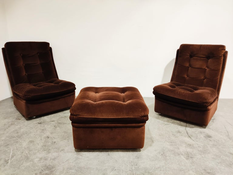 Mid-Century Modern Midcentury Lounge Chairs with Ottoman, 1970s