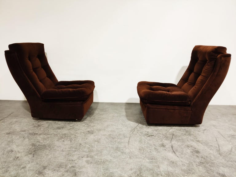 French Midcentury Lounge Chairs with Ottoman, 1970s