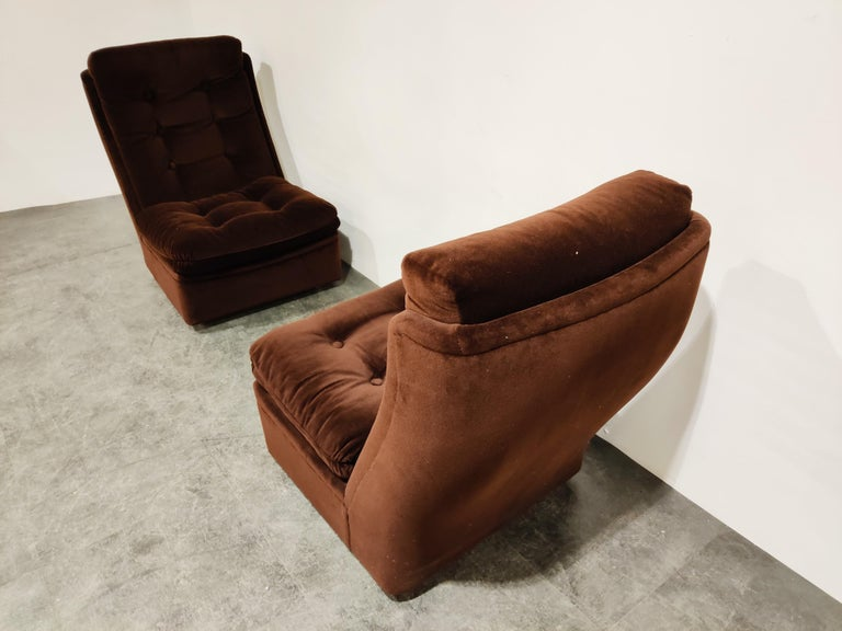 Midcentury Lounge Chairs with Ottoman, 1970s In Good Condition In Neervelp, BE