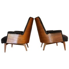 Midcentury Lounge Chairs with Sheepskin Upholstery