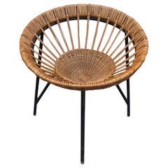 Midcentury lounge wicker chair, EXPO 58, Czechoslovakia