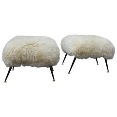 Mid-Century Low stools in Black Metal White Brass Sheepskin Italian Design