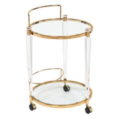 Midcentury Lucite and Brass Bar Cart