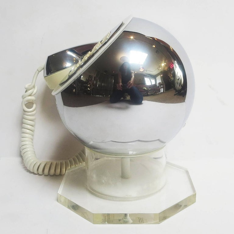 American Midcentury Lucite and Chrome Telephone by TeleConcepts Inc., 1977 For Sale