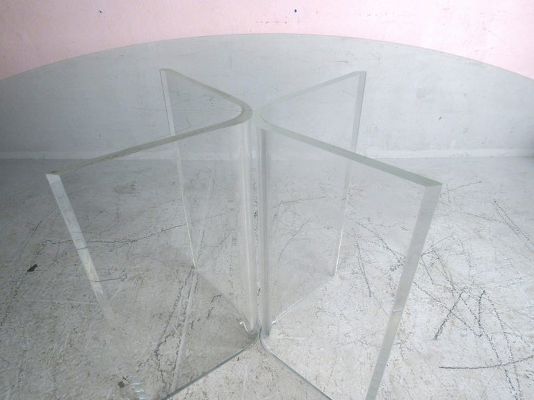 20th Century Midcentury Lucite and Glass Dining Set For Sale