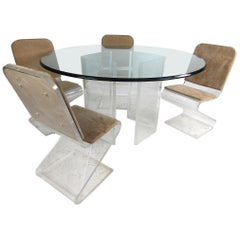 Midcentury Lucite and Glass Dining Set