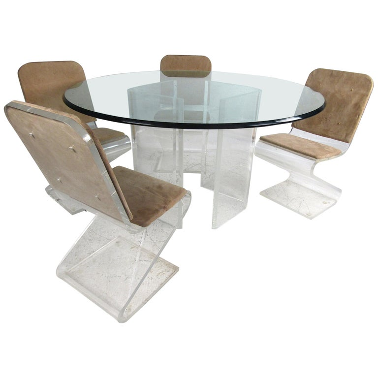 Midcentury Lucite and Glass Dining Set For Sale