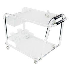 Midcentury Lucite Bar Cart with Chrome Accents