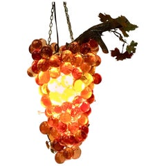 Mid-Century Lucite & Brass Large Grape Bunch Form Hanging Pendant Light