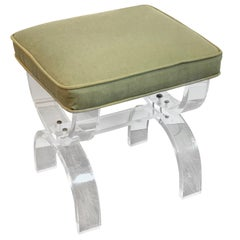 Midcentury Lucite Curule Bench