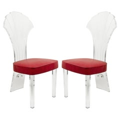Midcentury Lucite Faux Snake Skin Side Chairs