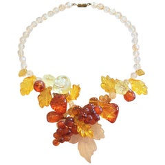 Mid Century Lucite fruit and leaves Autumn Fall Necklace