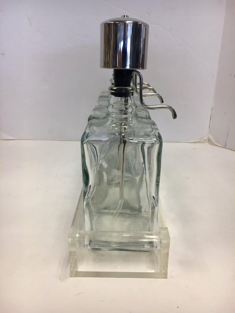 Midcentury Lucite Glass Bar Barware Decanters Pump Scotch Bourbon Vodka Gin For Sale 9
