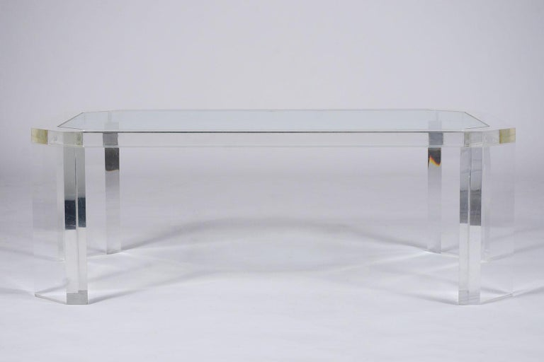 American 1970's Mid Century Lucite & Glass Coffee Table For Sale