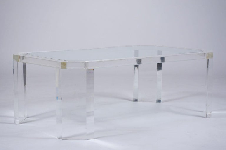 Hand-Crafted 1970's Mid Century Lucite & Glass Coffee Table For Sale