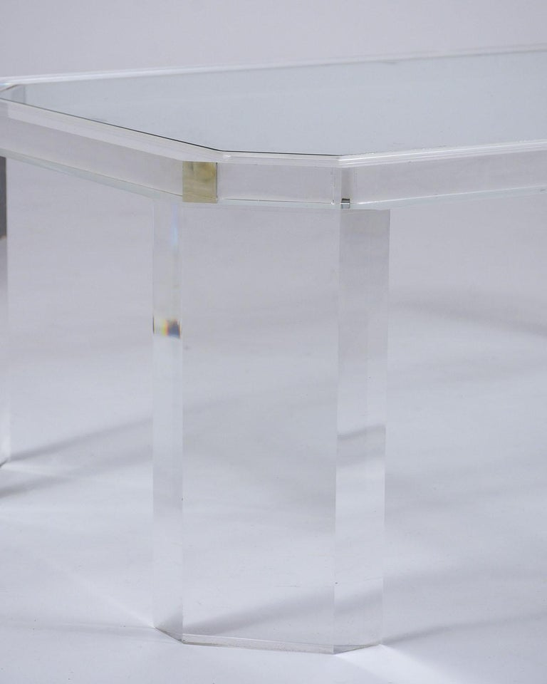 Late 20th Century 1970's Mid Century Lucite & Glass Coffee Table For Sale
