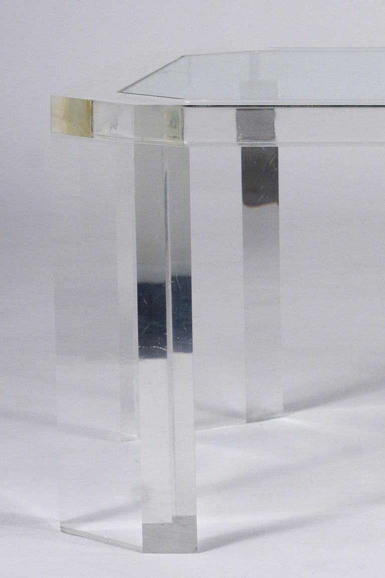 1970's Mid Century Lucite & Glass Coffee Table For Sale 1