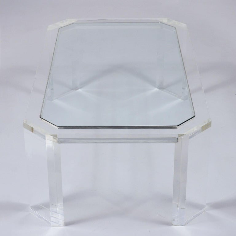 1970's Mid Century Lucite & Glass Coffee Table For Sale 2