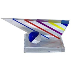 Midcentury Lucite Multi-Colored Triangular Geometric Sculpture by Will Grant